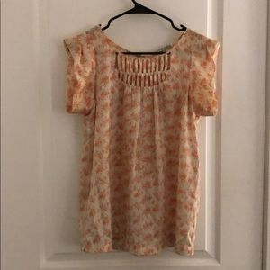 Collective Concepts orange/off white blouse